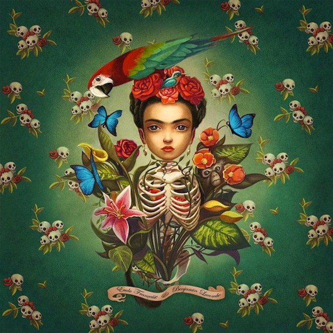 Ilustrações que homenageiam Frida Kahlo, pintora mexicana