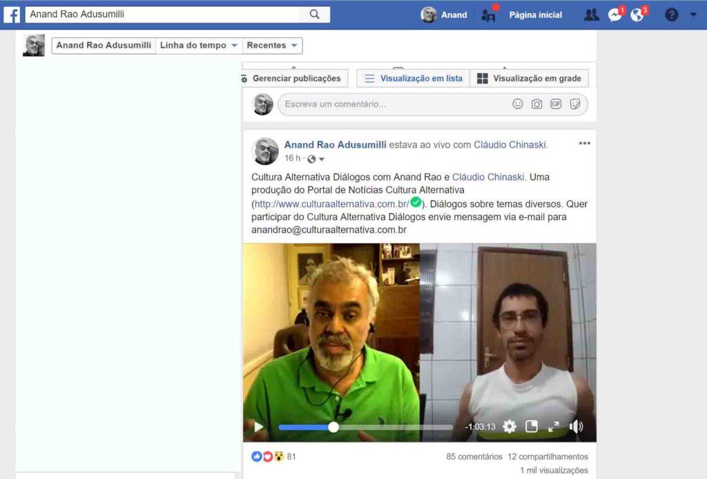 Cultura Alternativa Diálogos com Anand Rao e Cláudio Chinaski